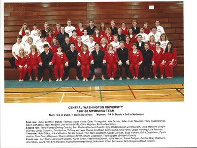"""""""1987-88 Central Washington University Swimming Team"""" by"""