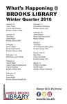 What's Happening at Brooks Library: Winter 2016