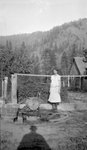 Woman, Fence, Cabin