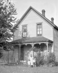 House, Woman, Two Children