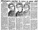 Newspaper Clippings: Women's Center Is Now a Year Old