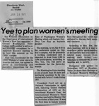Newspaper Clippings: Yee to Plan Women's Meeting