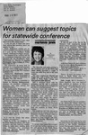 Newspaper Clippings: Women Can Suggest Topics for Statewide Conference