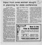 Newspaper Clippings: Input From Area Women Sought in Planning for State Conference