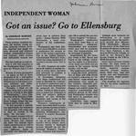 Newspaper Clippings: Independent Woman: Got an Issue? Go to Ellensburg