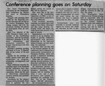 Newspaper Clippings: Conference Planning Goes On Saturday [May 1977