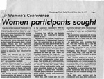 Newspaper Clippings: For Women's Conference: Women Participants Sought