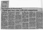 Newspaper Clippings: State Conference for Women Proposal: Equal Pay May Come With Job Comparisons