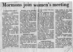 Newspaper Clippings: Mormons Join State Women's Meeting