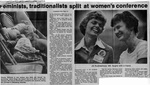 Newspaper Clippings: Feminists, Traditionalists Split at Women's Conference