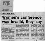 "Newspaper Clippings: ""Goal Not Met"": Women's Conference Was Invalid, They Say"