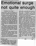 Newspaper Clippings: Emotional Surge Not Quite Enough