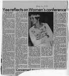 Newspaper Clippings: Yee Reflects on Women's Conference