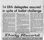 Newspaper Clippings: 14 ERA Delegates Assured in Spite of Ballot Challenge