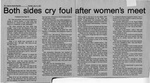 Newspaper Clippings: Both Sides Cry Foul After Women's Meet