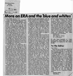 "Newspaper Clippings: Letter to the Editor: More on ERA and the ""Blue and Whites"""