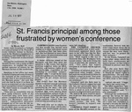 Newspaper Clippings: St. Francis Principal Among Those Frustrated By Women's Conference