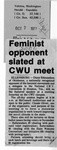 Newspaper Clippings: Feminist Opponent Slated at CWU Meet